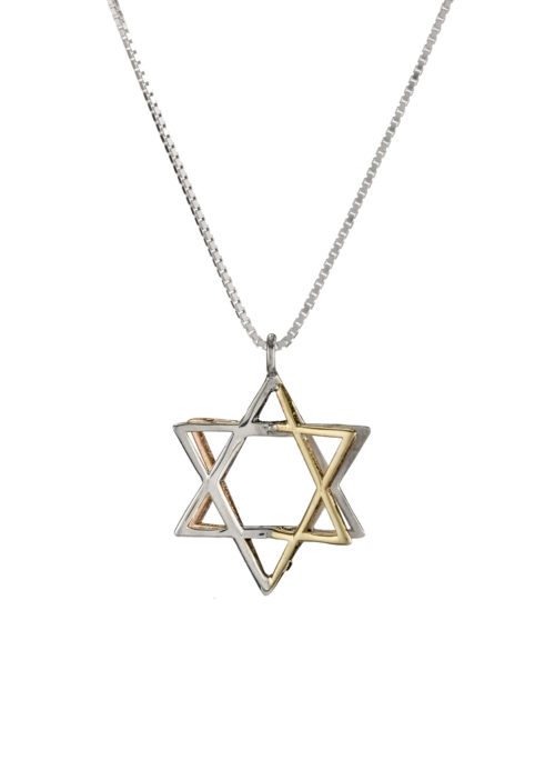 Silver & Two Tone Gold 3D Magen David Pendant - Baltinester Jewelry