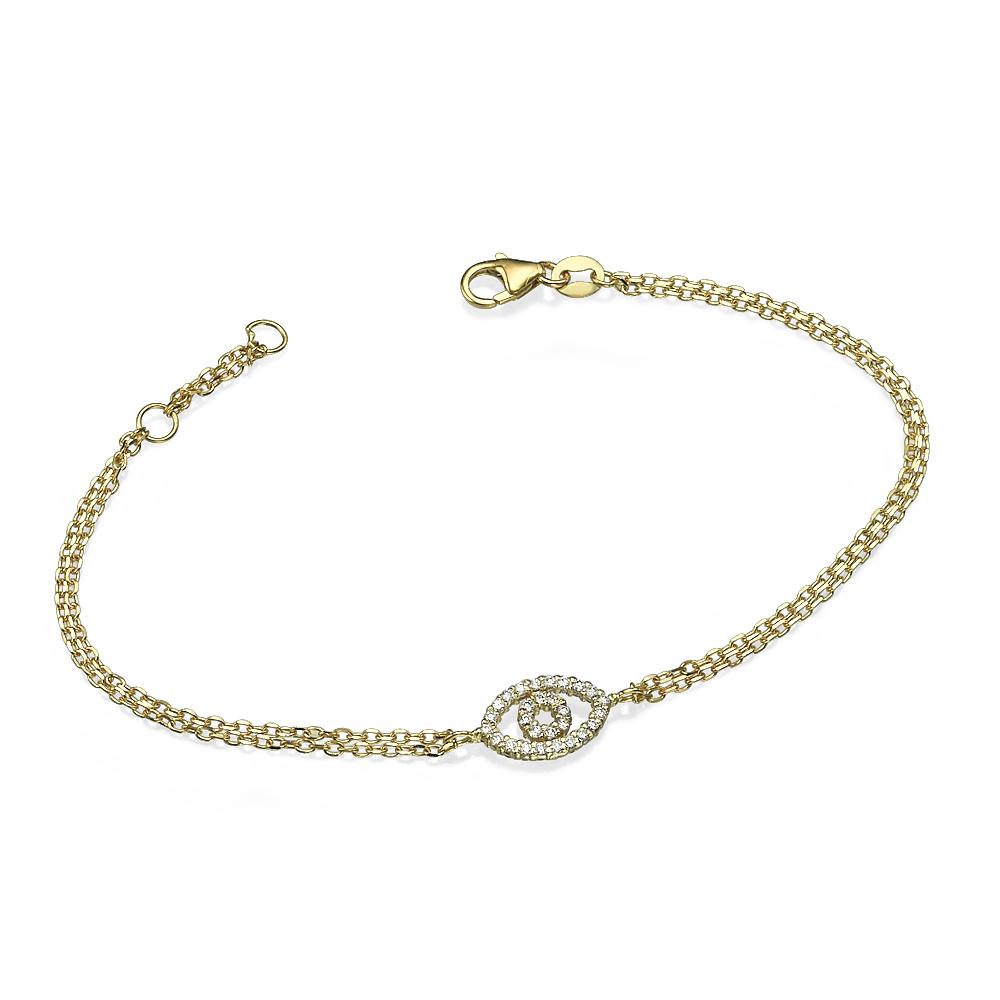 Reversible 14k Yellow Gold Diamond & Ruby Evil Eye Bracelet 2 - Baltinester Jewelry