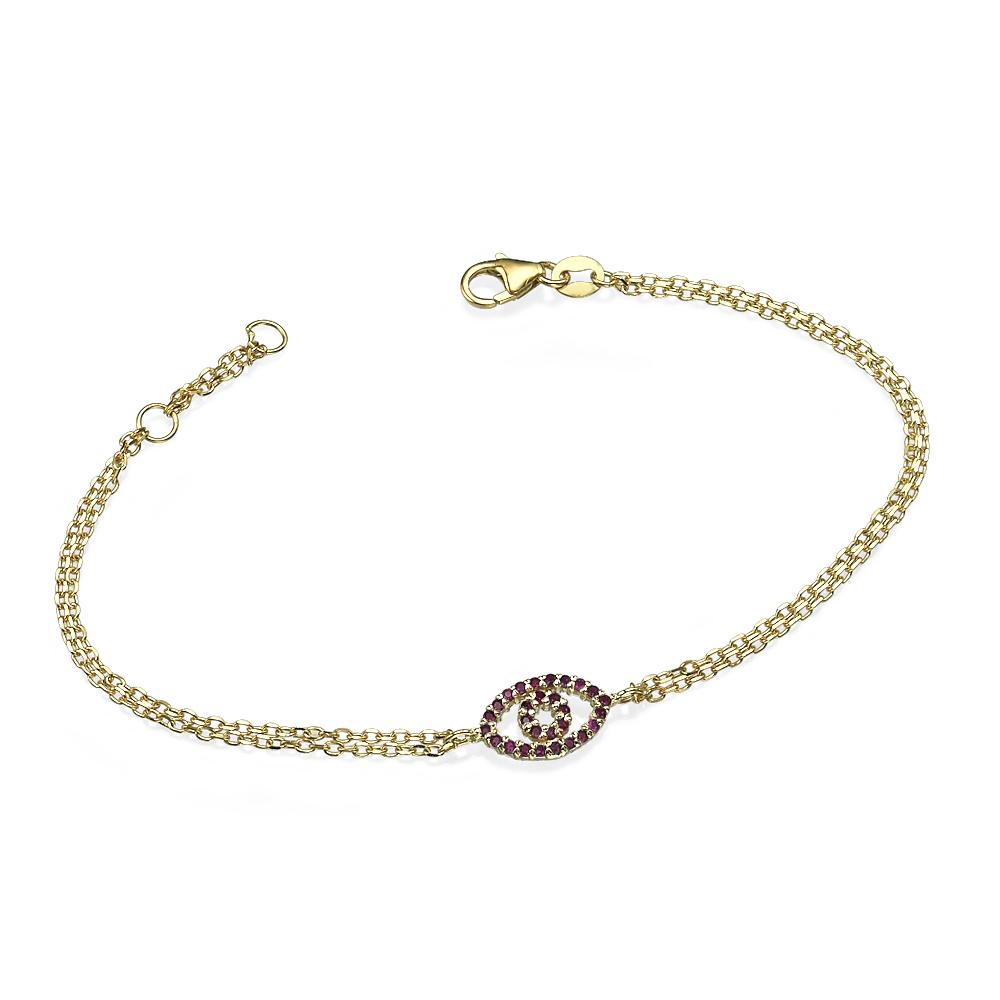Reversible 14k Yellow Gold Diamond & Ruby Evil Eye Bracelet - Baltinester Jewelry