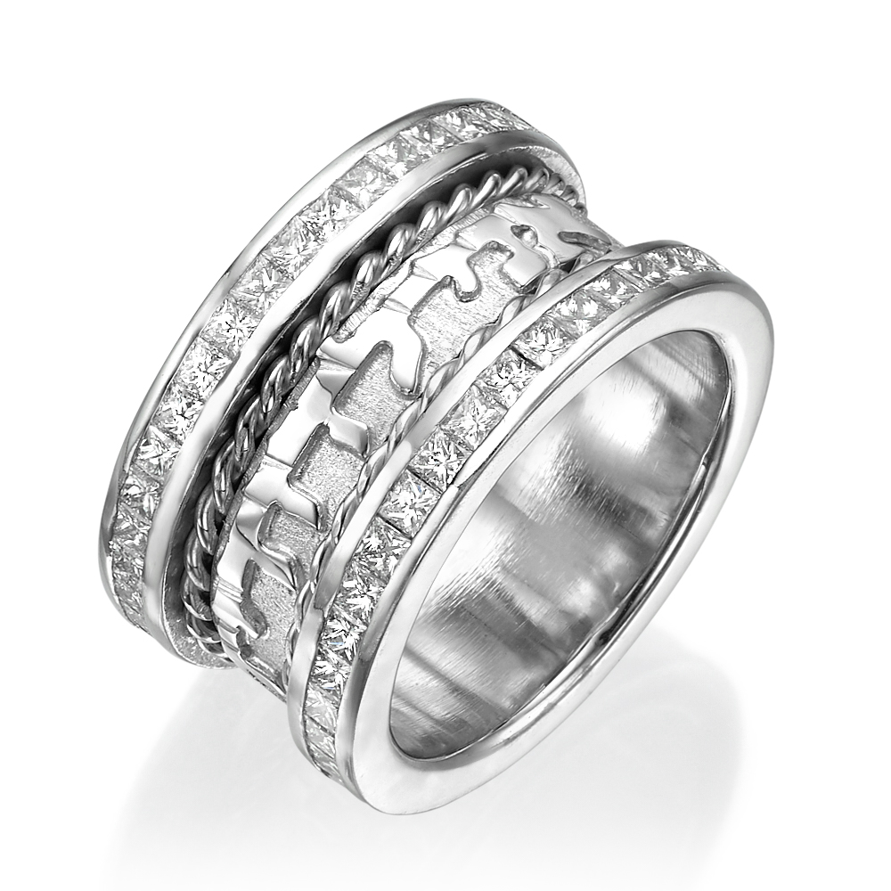 14k White Gold Diamond Braid Design Wedding Ring - Baltinester Jewelry