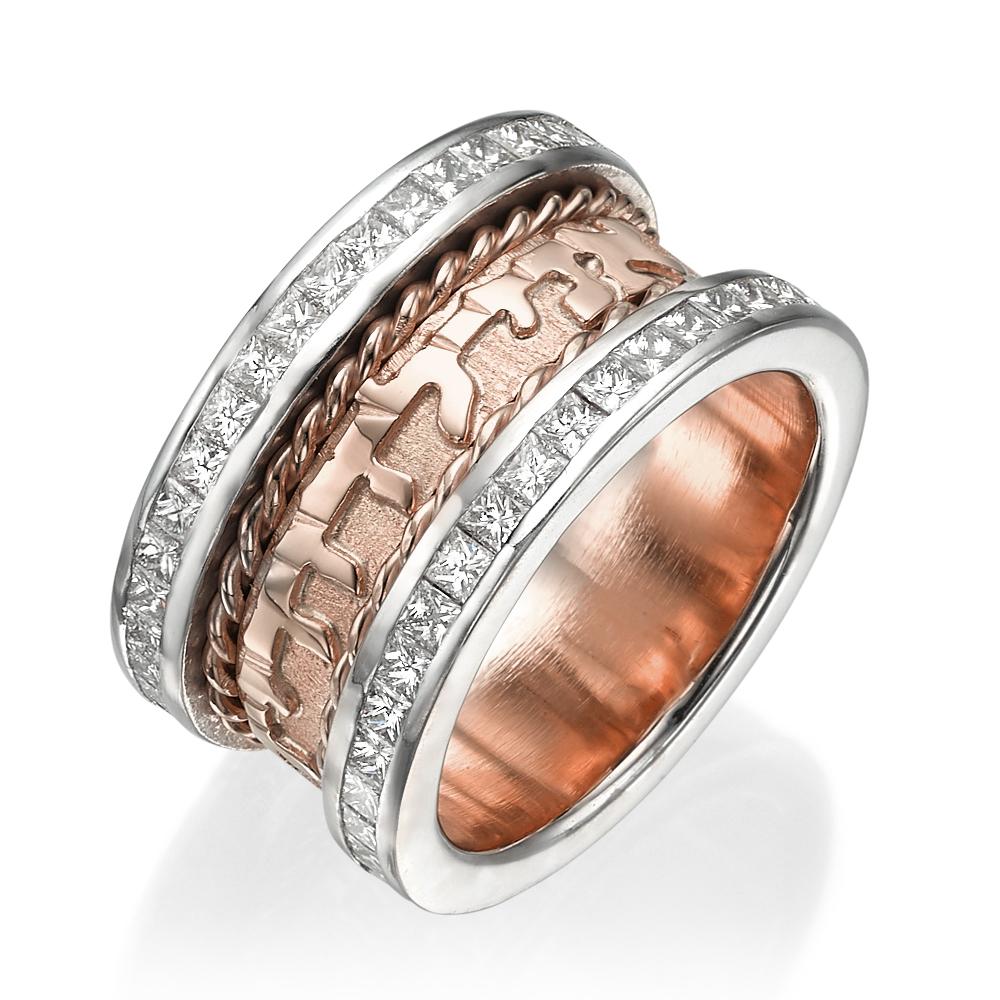 Rose & White Gold Spiral Diamond Wedding Ring 14k - Baltinester Jewelry