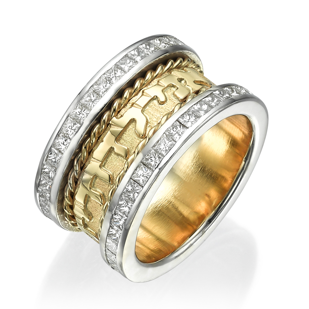 14k Two Tone Gold Braid Design Diamond Wedding Ring - Baltinester Jewelry