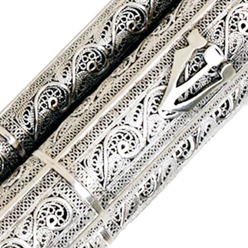 Sterling Silver Filigree Scroll Mezuzah Case 4 - Baltinester Jewelry