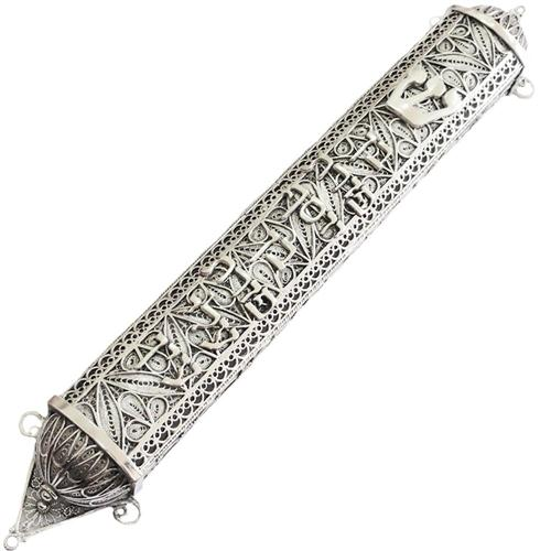 Sterling Silver Large Filigree Mezuzah - Baltinester Jewelry