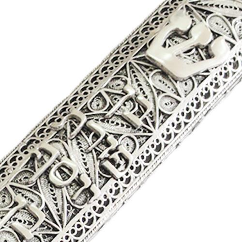 Sterling Silver Large Filigree Mezuzah 4 - Baltinester Jewelry