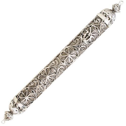 Silver Floral Filigree Round Mezuzah - Baltinester Jewelry