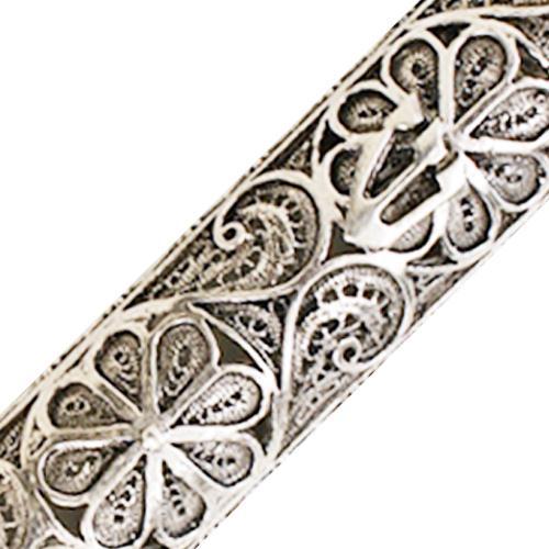 Silver Floral Filigree Round Mezuzah 4 - Baltinester Jewelry