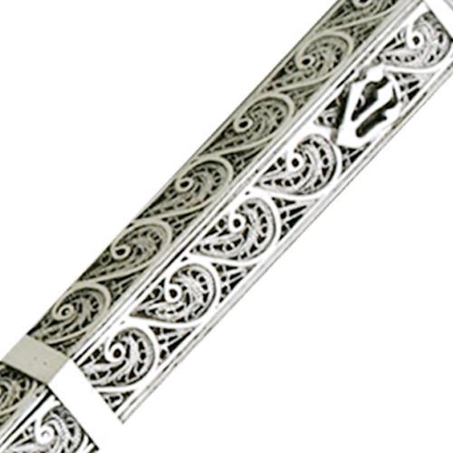 Sterling Silver Triangular Filigree Mezuzah Case 4 - Baltinester Jewelry