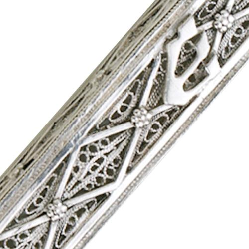 Sterling Silver Rectangular Filigree Mezuzah 2 - Baltinester Jewelry