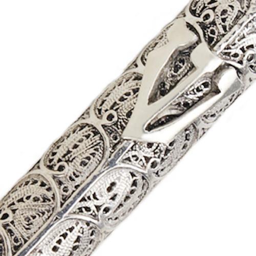 Sterling Silver Filigree Round Mezuzah 4 - Baltinester Jewelry