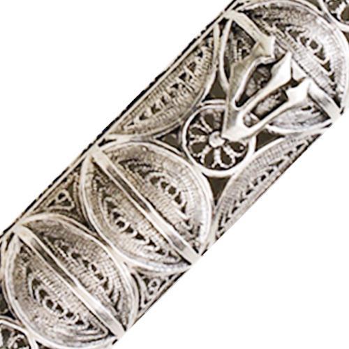 Silver Round Filigree Mezuzah Case 4 - Baltinester Jewelry