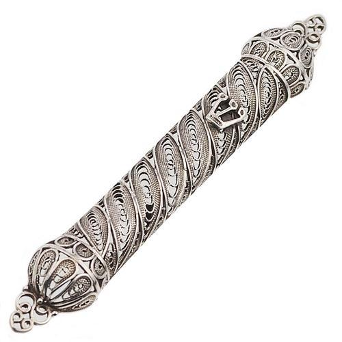 Filigree Silver Round Mezuzah Case - Baltinester Jewelry
