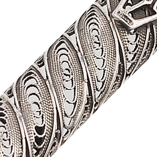 Filigree Silver Round Mezuzah Case 2 - Baltinester Jewelry