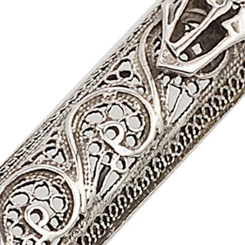Sterling Silver Filigree Triangular Mezuzah Case 2 - Baltinester Jewelry