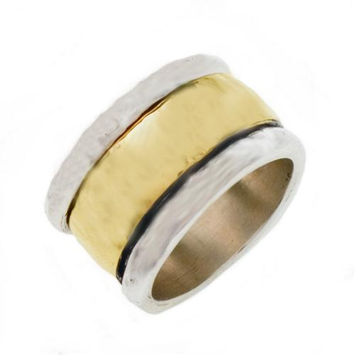 Silver and Gold Hammered Domed Spinning Ring - Baltinester Jewelry