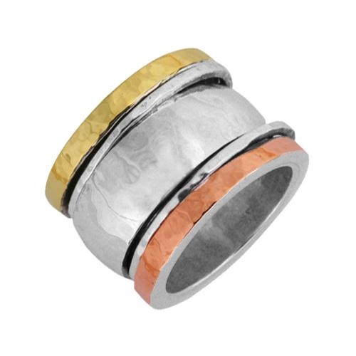 Silver, Yellow Gold, and Rose Gold Spinning Ring - Baltinester Jewelry