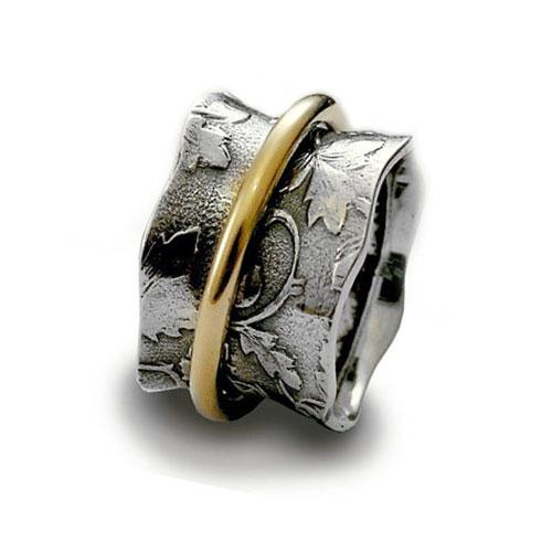 Wavy Leaf Sterling Silver Ring and Gold-Filled Spinner - Baltinester Jewelry