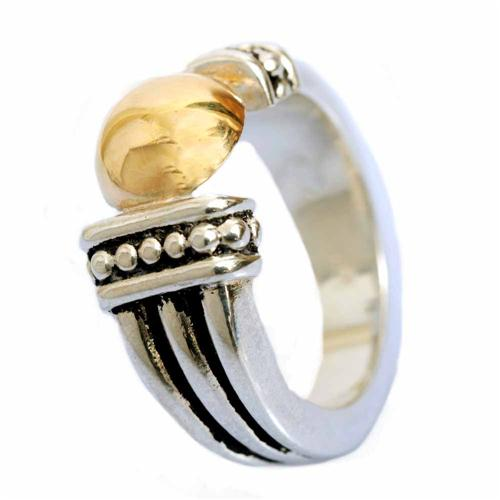 Silver and Gold Dome Yemenite Ring - Baltinester Jewelry