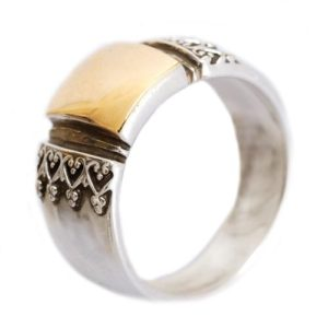 Silver and Gold Wide Yemenite Ring - Baltinester Jewelry