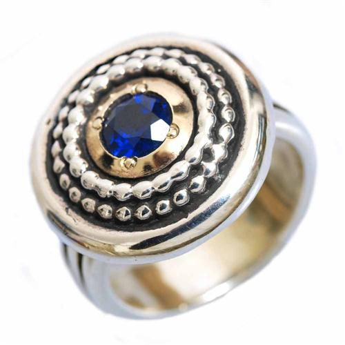 Silver and Gold Sapphire Ring - Baltinester Jewelry