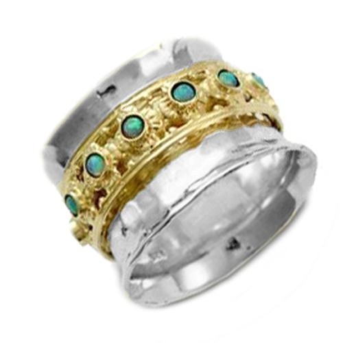 Silver and Gold Opalite Spinning Ring - Baltinester Jewelry