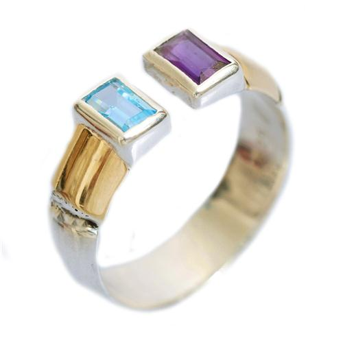 Silver Gold Blue Topaz and Amethyst Ring - Baltinester Jewelry
