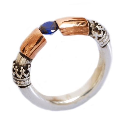 Silver and Gold Sapphire Yemenite Ring - Baltinester Jewelry