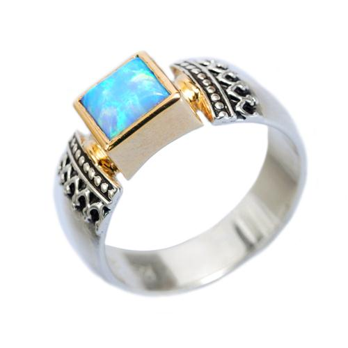 Silver and Gold Opalite Yemenite Ring - Baltinester Jewelry