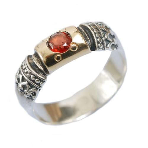 Silver and Gold Garnet Yemenite Ring - Baltinester Jewelry