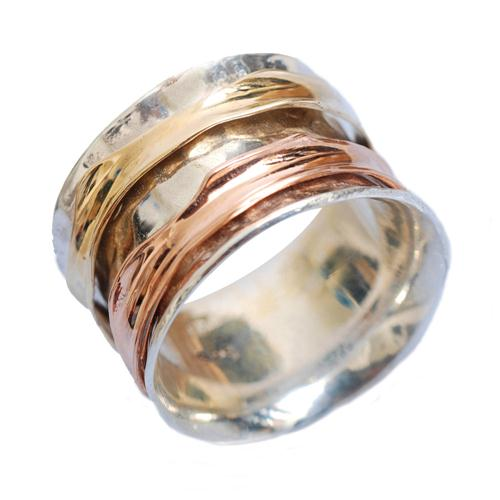 Silver and Gold Wide Spinning Ring - Baltinester Jewelry