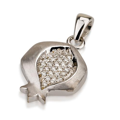 Brushed 14k White Gold Diamond Pomegranate Pendant - Baltinester Jewelry