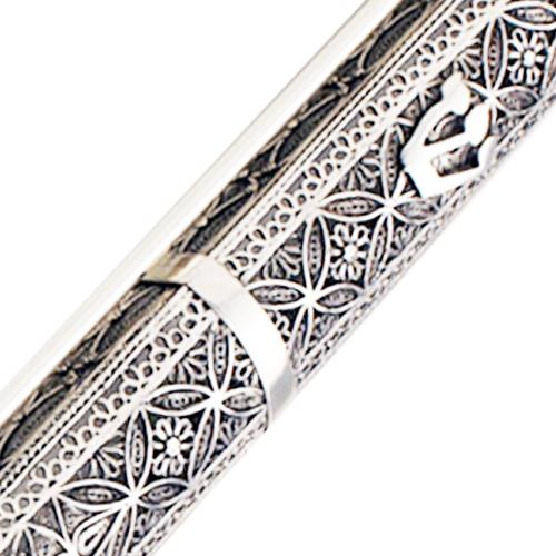 Sterling Silver Floral Filigree Large Mezuzah 4 - Baltinester Jewelry