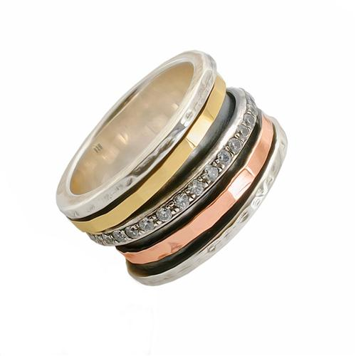 Hammered Silver and Two Tone Gold CZ Spinning Ring - Baltinester Jewelry