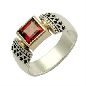 Silver and Gold Victorian Garnet Ring - Baltinester Jewelry