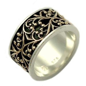 Handmade Silver and Gold Filigree Lace Ring - Baltinester Jewelry