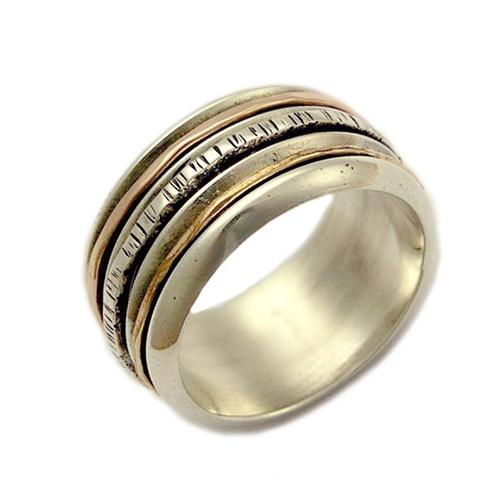 Silver Rose Gold and Yellow Gold Spinning Ring - Baltinester Jewelry