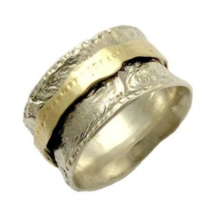 Wide Comfort Fit Silver and Gold Spinner Ring - Baltinester Jewelry
