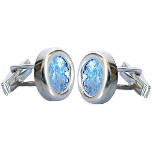 Sterling Silver Classic Round Roman Glass Cufflinks - Baltinester Jewelry