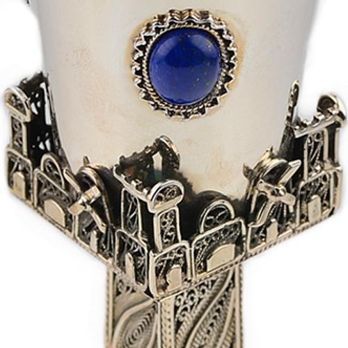 Jerusalem Filigree Lapis Lazuli Silver Kiddush Cup 3 - Baltinester Jewelry