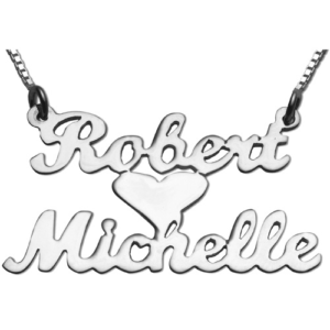 Silver Lovers Heart Name Necklace - Baltinester Jewelry