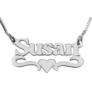 Silver Underline Middle Heart Print Name Necklace - Baltinester Jewelry