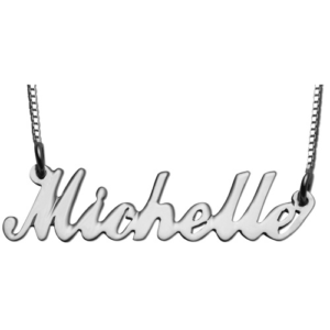 Silver Script Name Box Chain Necklace - Baltinester Jewelry