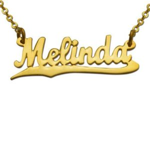 Gold Plated Underlined Script Name Necklace - Baltinester Jewelry
