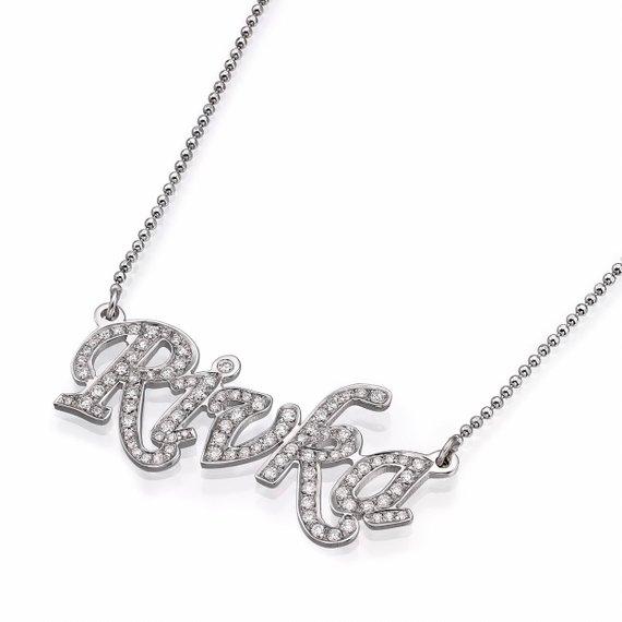 14k White Gold Diamond Name Necklace - Baltinester Jewelry