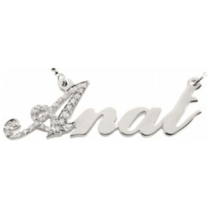 Diamond and 14k White Gold Script Name Necklace - Baltinester Jewelry