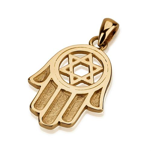 14K Gold Star of David Traditional Hamsa Pendant - Baltinester Jewelry