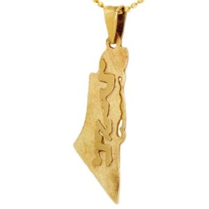 14k Gold Map Of Israel Name Pendant - Baltinester Jewelry