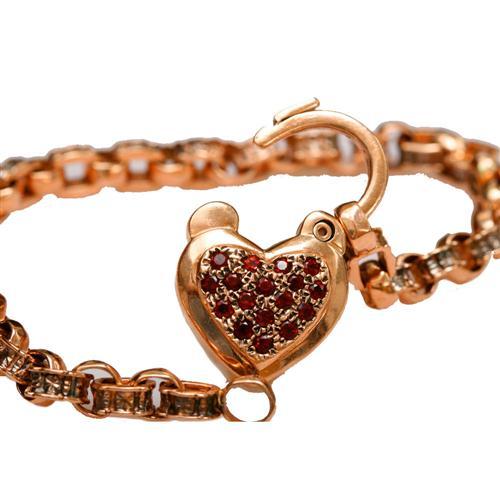 14k Rose Gold and Garnet Heart Charm Bracelet 3 - Baltinester Jewelry
