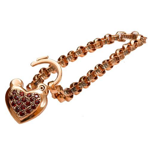14k Rose Gold and Garnet Heart Charm Bracelet 4 - Baltinester Jewelry