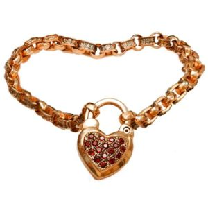 14k Rose Gold and Garnet Heart Charm Bracelet - Baltinester Jewelry